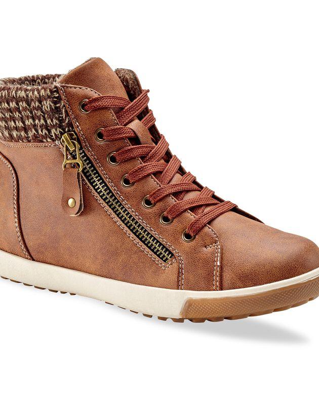 Gevoerde sneakers met kraag - camel, bruin, hi-res