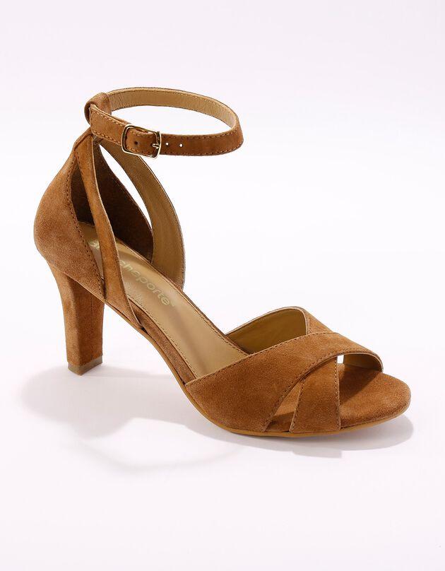 Leren sandalen met hak, karamel, hi-res