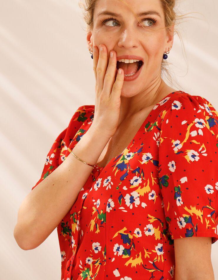 Robe col carré imprimée fleurs, rouge / blanc, hi-res image number 2