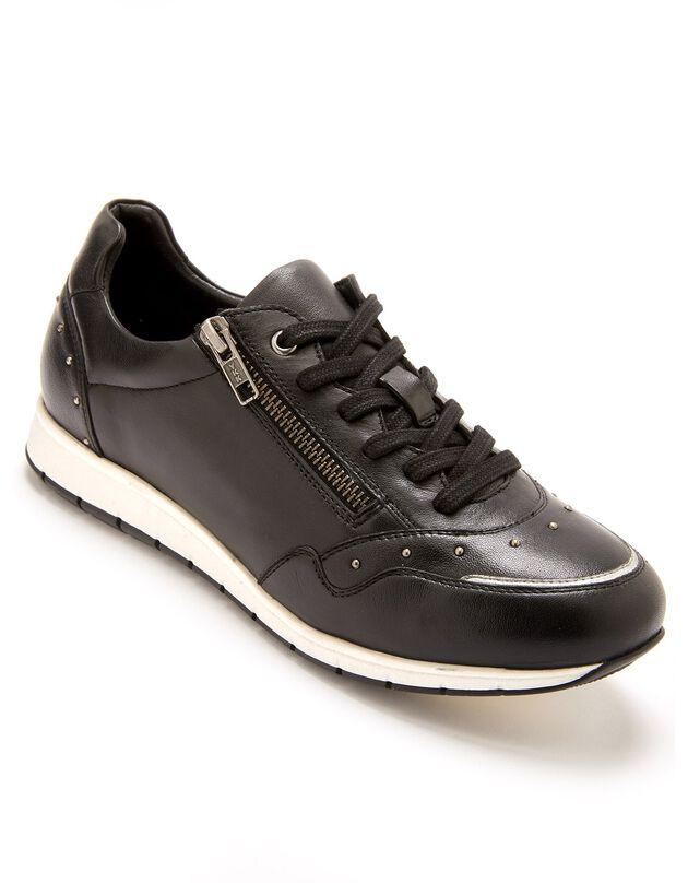 Derbies largeur confort en cuir lacées et zippées - femme, noir, hi-res