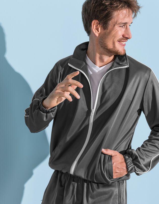 Veste sport microfibre zippée, gris, hi-res