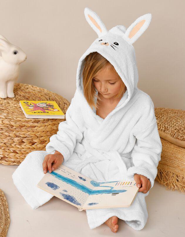 Peignoir de bain enfant lapin à capuche éponge coton - 380 g/m², blanc, hi-res