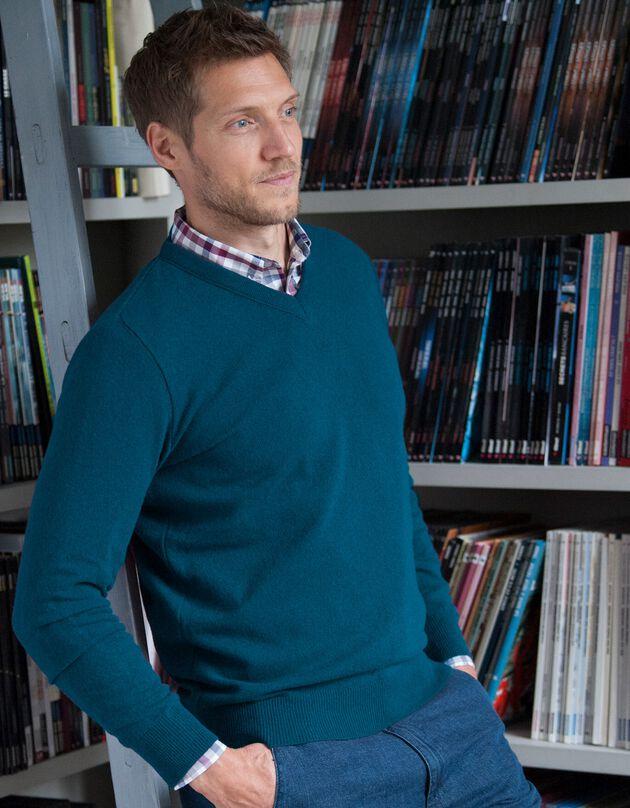 Effen trui met V-hals, petroleumblauw, hi-res