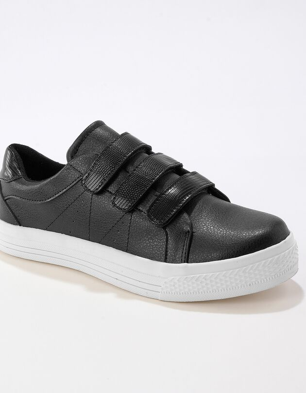 Sneakers met scratchsluiting en kroko-effect - zwart, zwart, hi-res