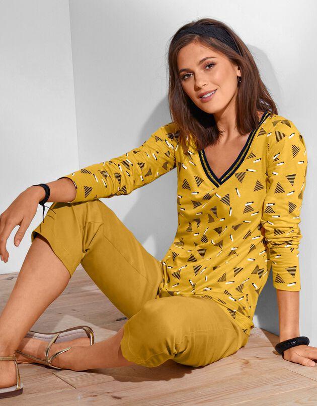 Tee-shirt manches longues imprimé, jaune, hi-res