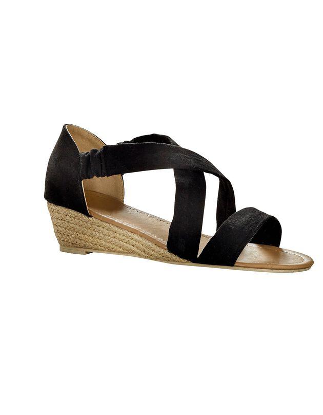 Sandalen met sleehak, zwart, hi-res