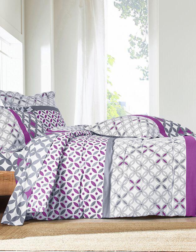 Linge de lit Marlow en coton motifs géométriques, gris / violet, hi-res