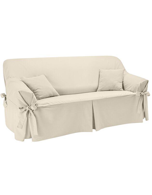 Housse bachette coton uni nouettes fauteuil canapés, écru, hi-res