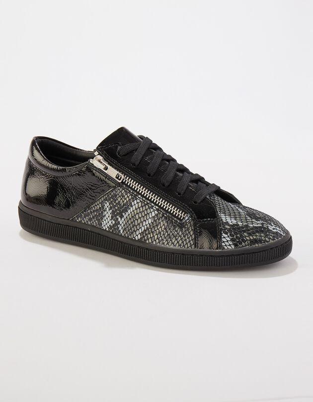 Sneakers met rits in soepel leer, 2 materialen - laag model, zwart / grijs, hi-res