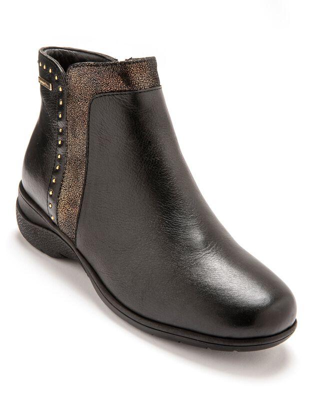 Boots fourrées imperméables femme - largeur confort, noir, hi-res