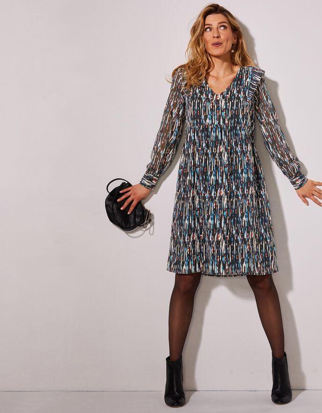 Uitlopende jurk in voile met grafische print, zwart / blauw, hi-res