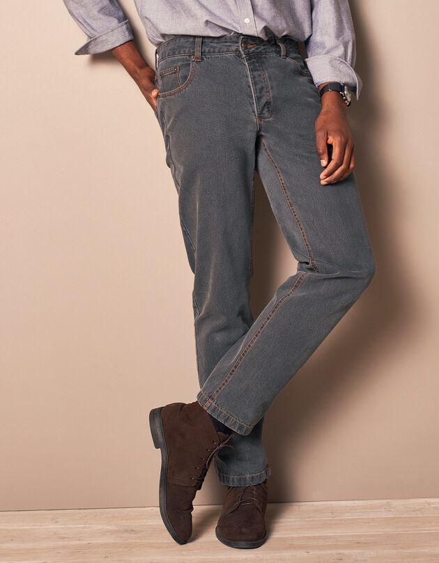 Authentieke jeans in recht model - binnenpijplengte 82 cm, grijs, hi-res
