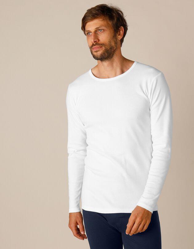 T-shirt met lange mouwen en lang rugpand - herenondergoed, set van 2, wit, hi-res