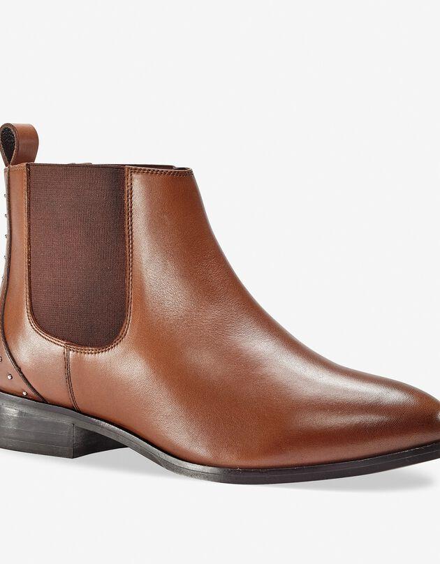 Leren chelsea boots met sierspijkertjes, bruin, hi-res