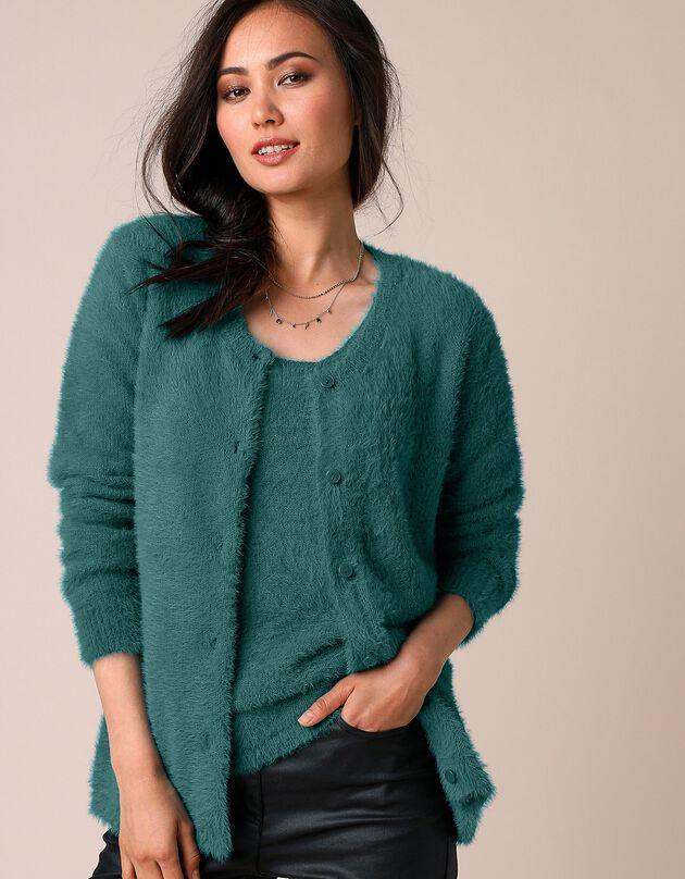 Cardigan in zacht tricot, smaragd, hi-res