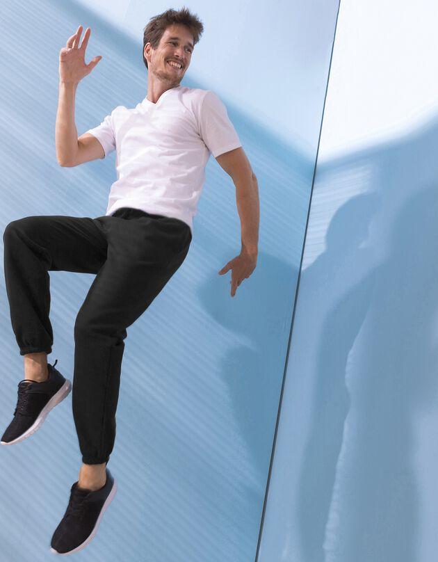 Pantalon jogging molleton bas élastiqué, noir, hi-res