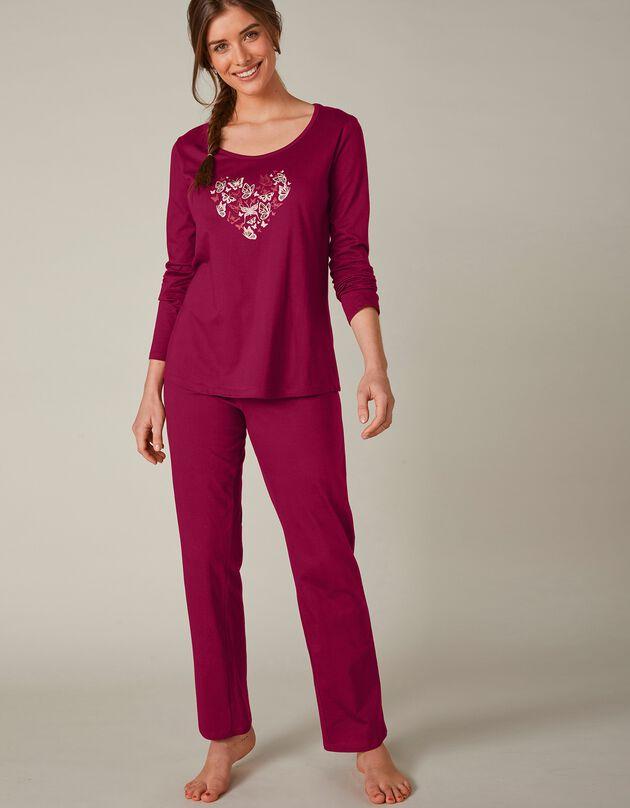 Pyjama met lange mouwen en vlinderprint, kersenrood, hi-res
