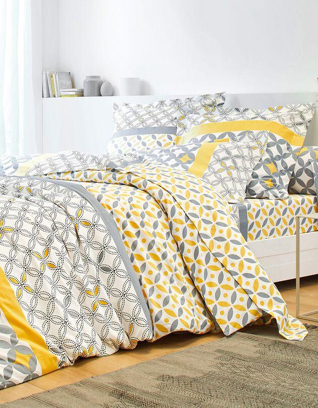 Bedlinnen Marlox in katoen met geometrische motieven, grijs / geel, hi-res