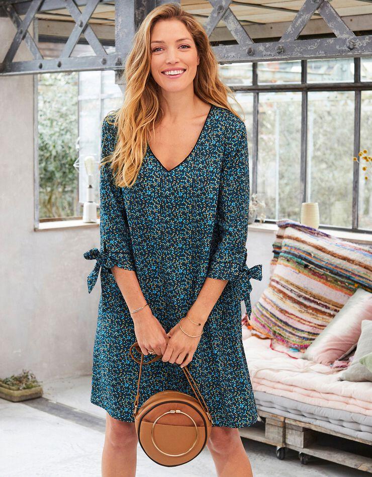 Bedrukte, uitlopende jurk, blauw, hi-res image number 0