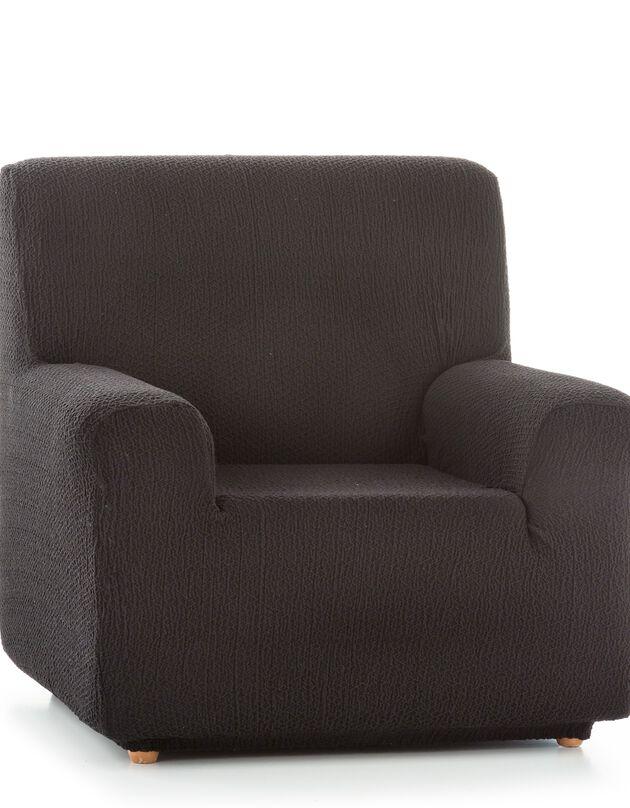 Housse canapé fauteuil bi-extensible Abril, noir, hi-res