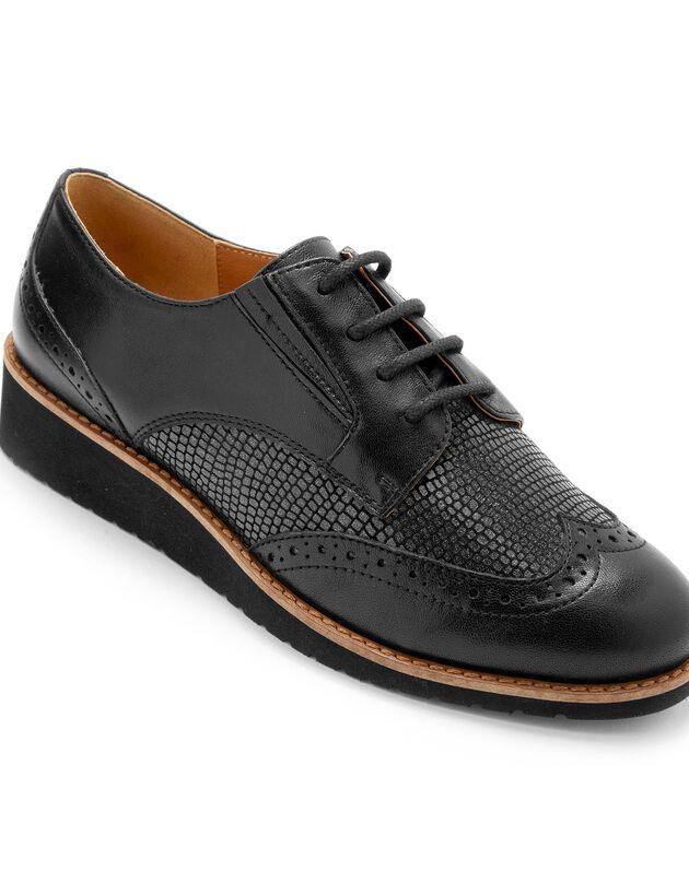 Leren derby's met sleehak, brede pasvorm - zwart, zwart, hi-res