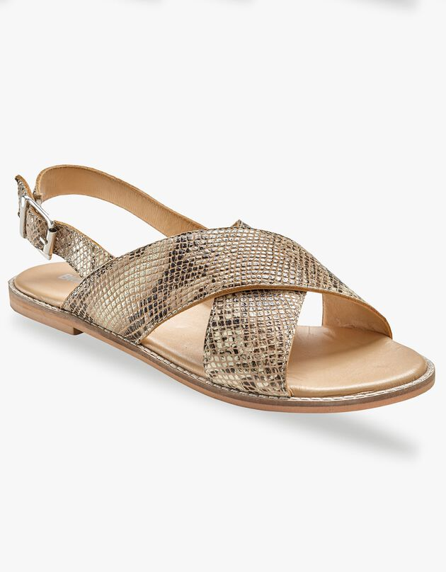 Platte sandalen in leer - pythonmotief, beige / zwart, hi-res