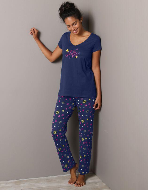 Pyjamabroek met sterrenprint Estrella - katoen, marine, hi-res