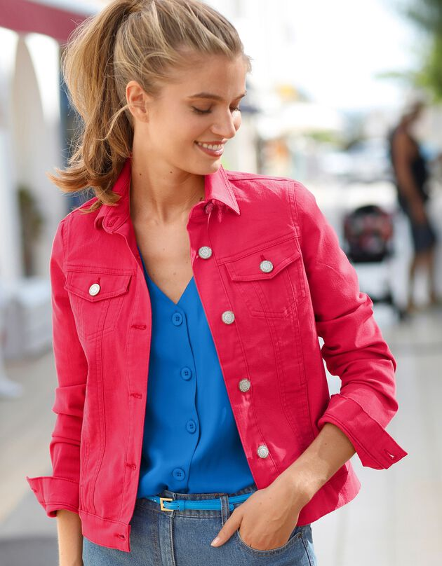 Veste boutonnée en jean délavé, cerise, hi-res