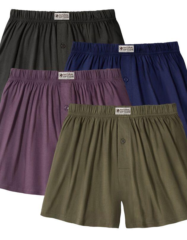 Ruime, open en effen boxershort - set van 4, kaki + paars + blauw, hi-res