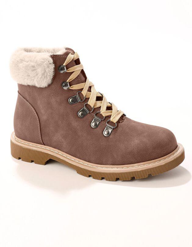Boots col fourré esprit montagne - marron, marron, hi-res