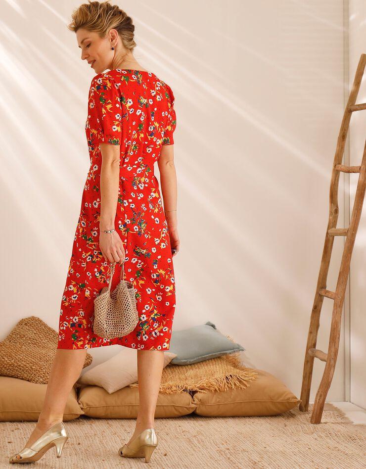Robe col carré imprimée fleurs, rouge / blanc, hi-res image number 6