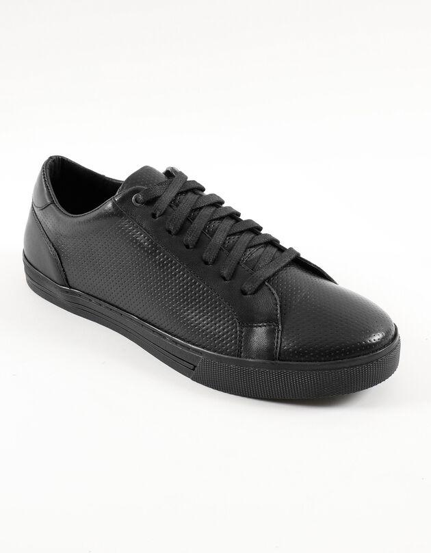 Tennis cuir lacées, noir, hi-res