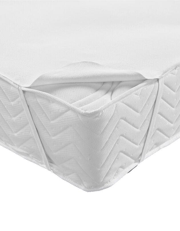 Protège-matelas molleton absorbant 400 g/m2 forme plateau, blanc, hi-res