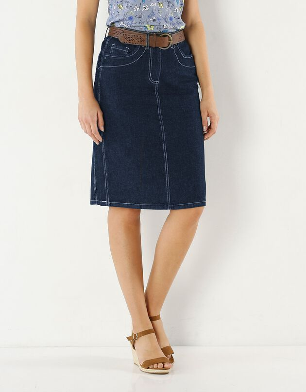 Rechte jeansrok, stone, hi-res