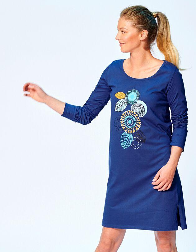 Chemise de nuit courte manches longues motif « rosace », bleu, hi-res