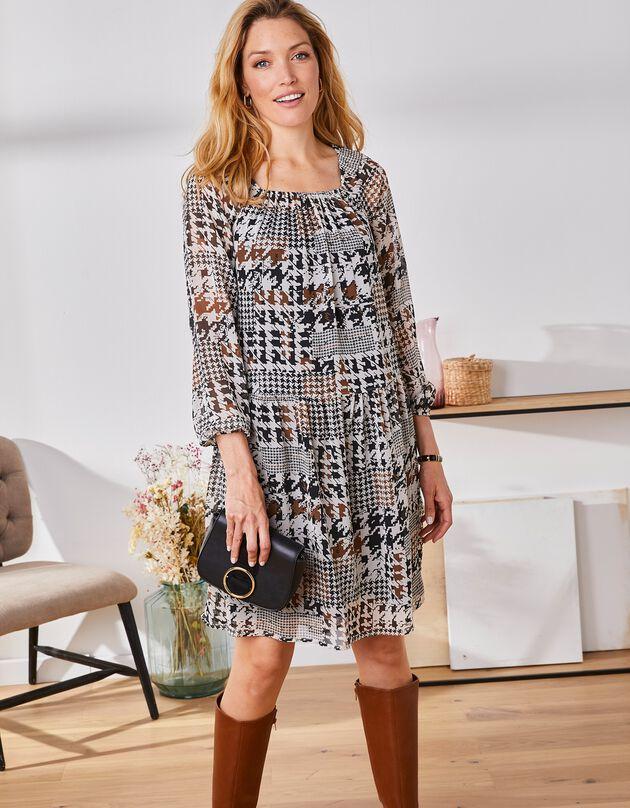 Korte jurk met patchprint, zwart / karamel, hi-res