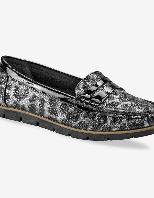 Glanzende mocassins - luipaardprint grijs/zwart, grijs / zwart, hi-res