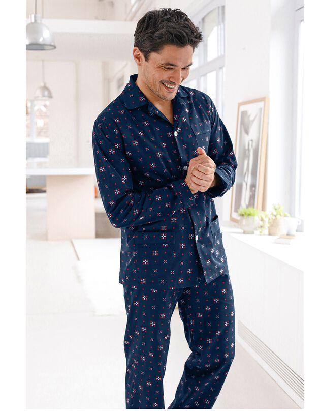 Pyjama imprimé popeline polyester/coton, marine, hi-res