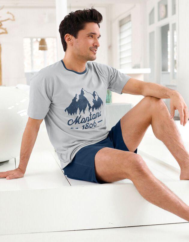 Tweekleurige shortama met korte mouwen, grijs / marine, hi-res