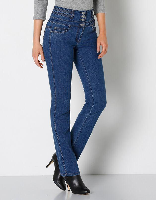 Rechte jeans met hoge taille, stone, hi-res
