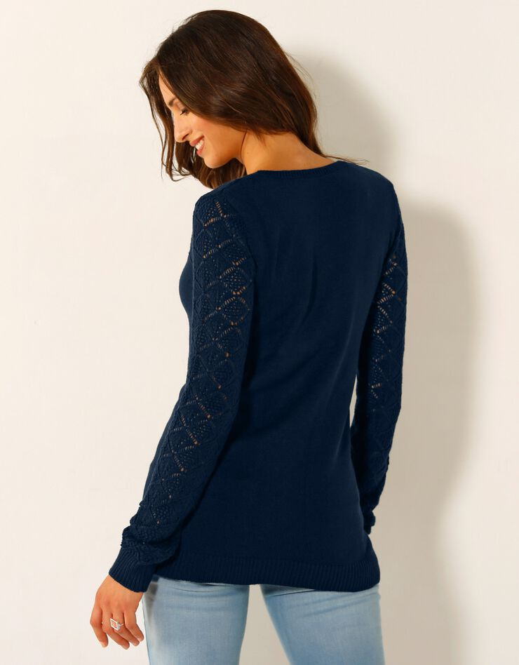 Cardigan in ajourtricot, marine, hi-res image number 2