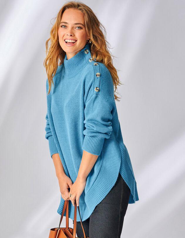 Pull-cape boutonné longueur tunique, bleu, hi-res
