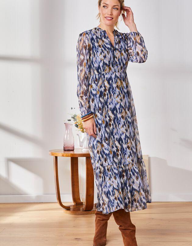 Lange, bedrukte jurk in voile, Tunesische hals, marine / ecru, hi-res
