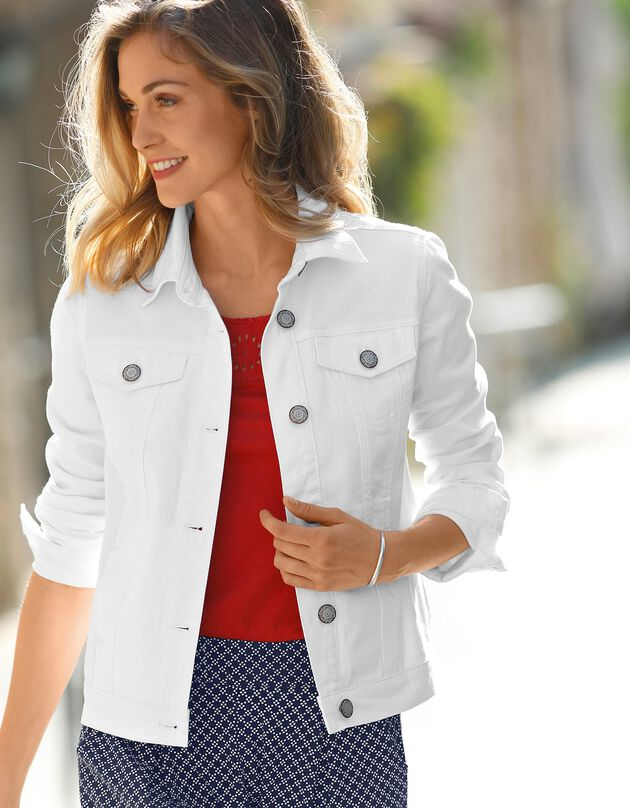 Veste boutonnée en jean délavé, blanc, hi-res