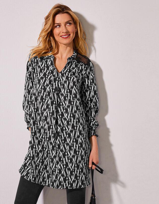 Bedrukte tuniek met kant en lange mouwen, zwart / ecru, hi-res