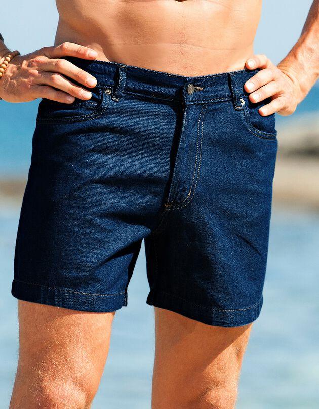 Short jean élastiqué côtés, stone, hi-res