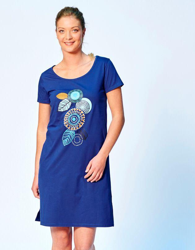 Kort nachthemd met korte mouwen en rozettenmotief, blauw, hi-res