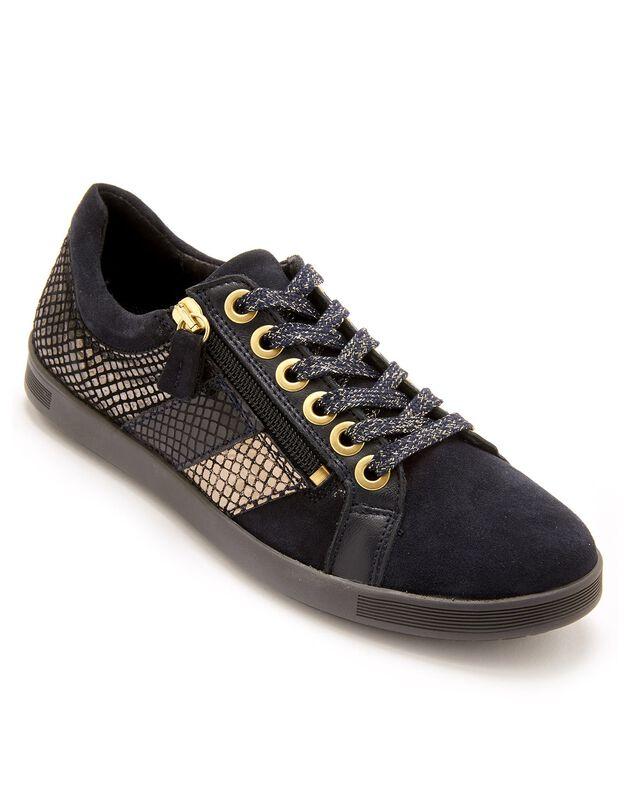 Sneakers met veters, grote breedte, in leer met goudkleurig effect - dames, marine, hi-res