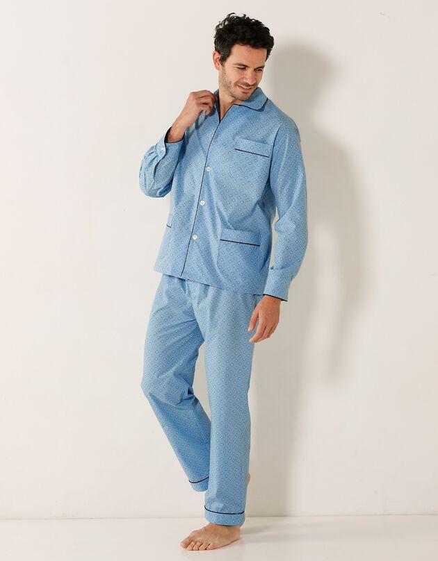 Pyjama imprimé - popeline polycoton, bleu, hi-res