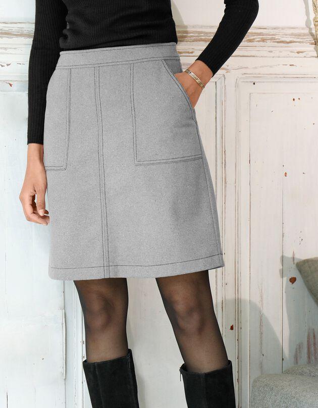 Jupe trapèze bicolore, gris chiné, hi-res